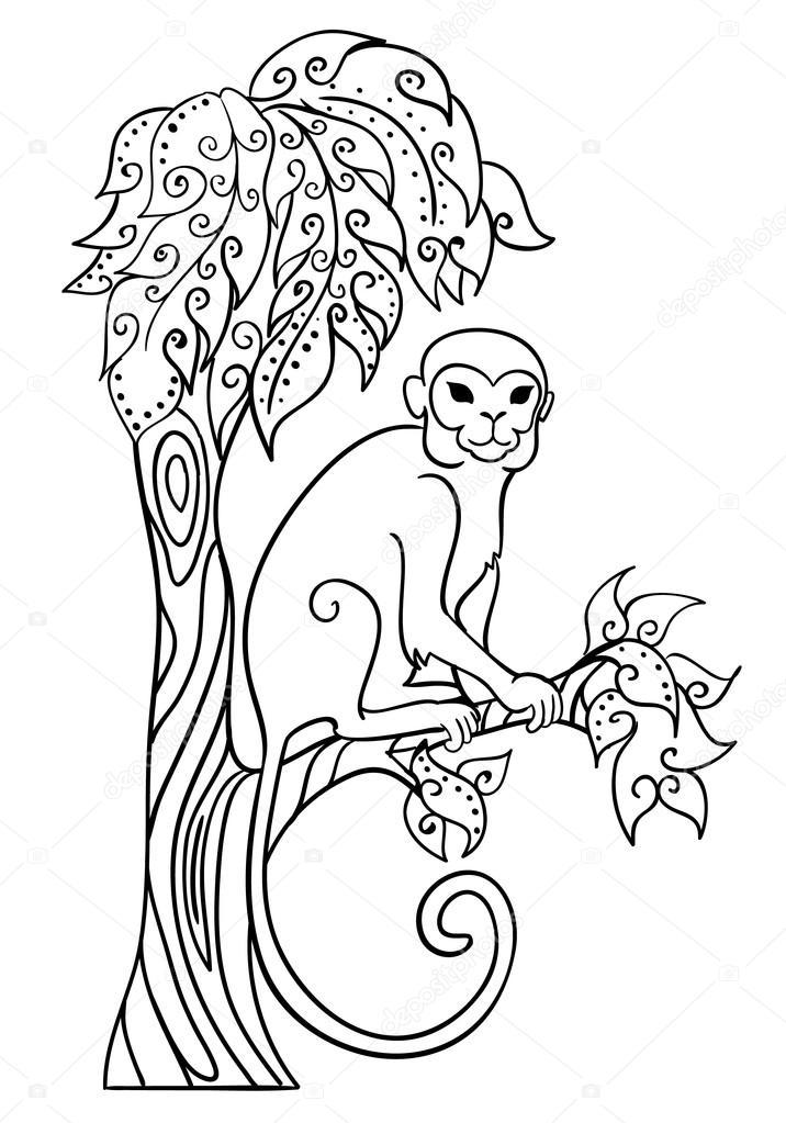Monkey Sitting On A Tree Stock Vector 169 Snowkat 81302604