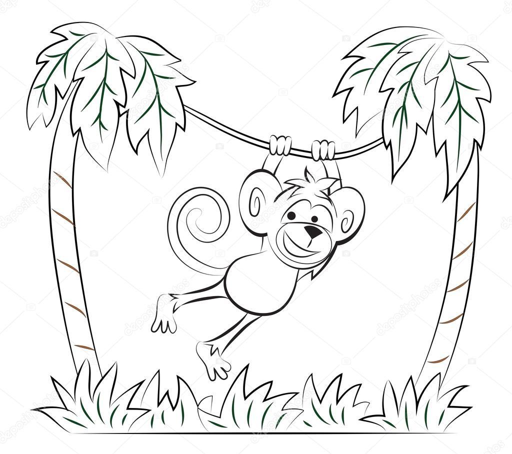 Mono saltando en la palma — Archivo Imágenes Vectoriales © SnowKat ...