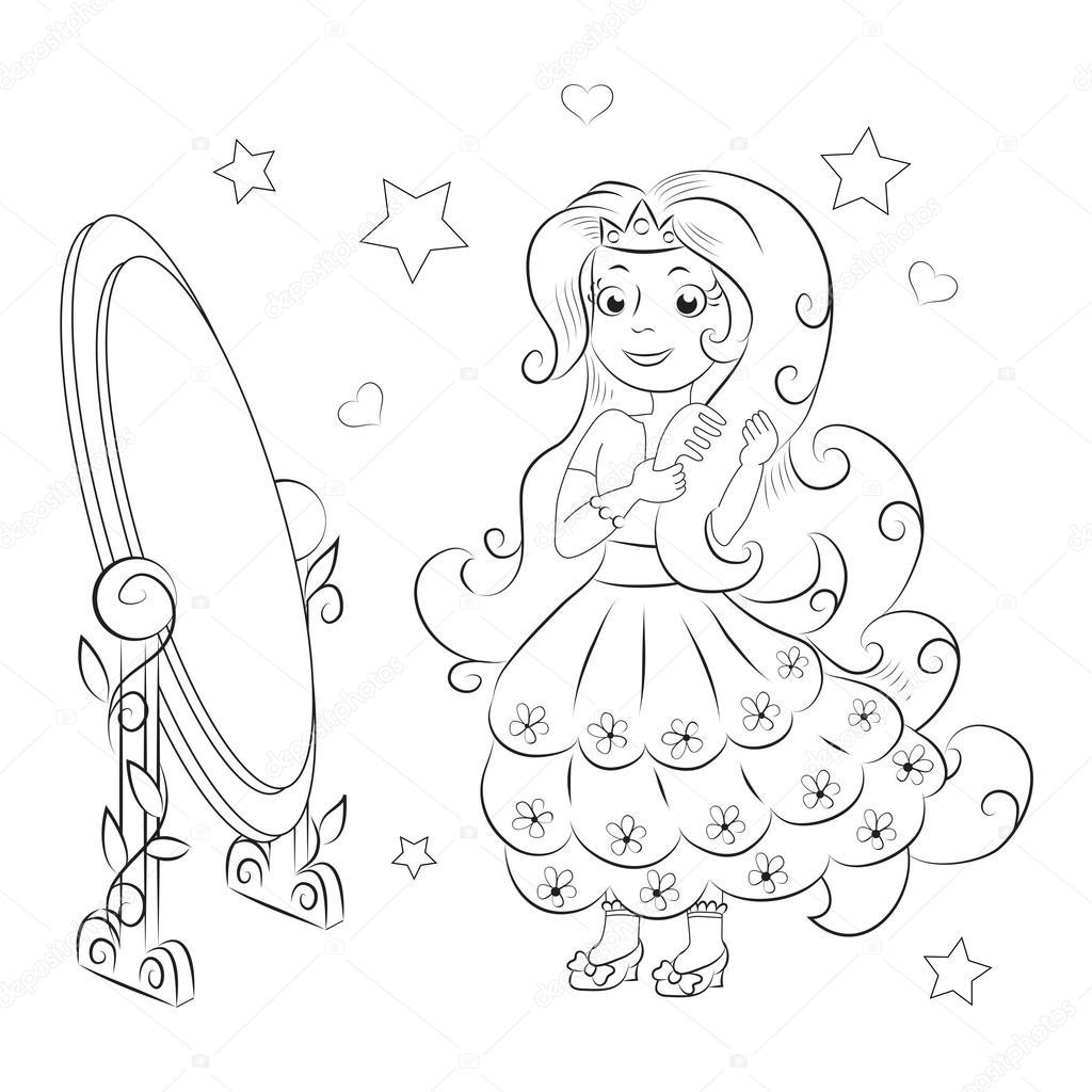 Dulce Princesa Libro Para Colorear Archivo Imágenes Vectoriales