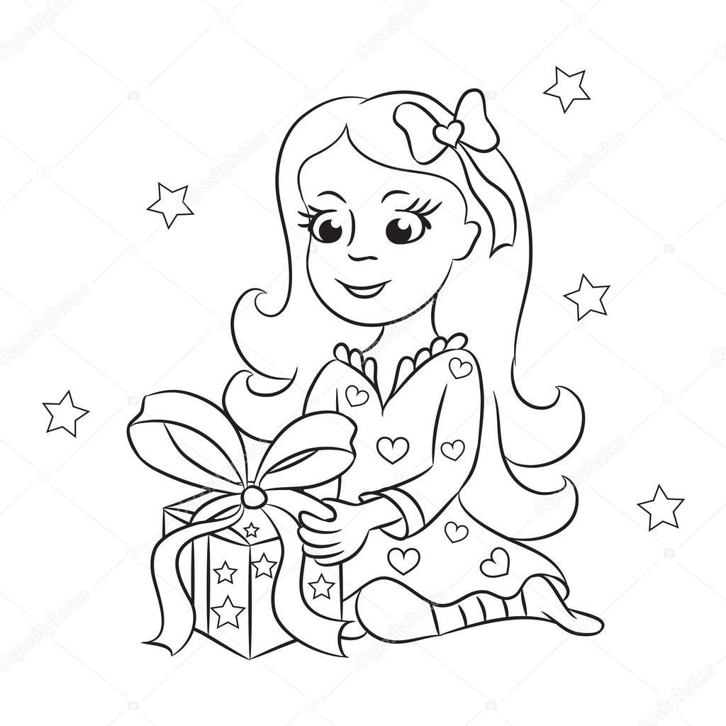 la chica con un regalo. El libro para colorear — Vector de stock ...