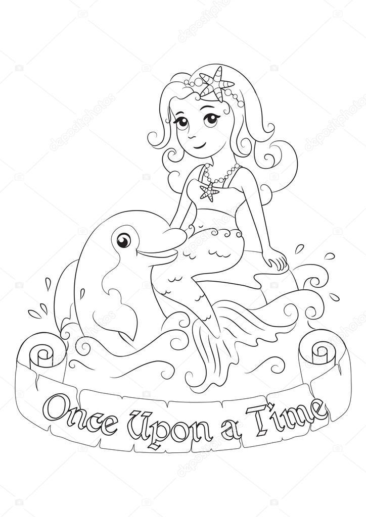 Sirena cariño jugando con delfines — Vector de stock © SnowKat #88757868