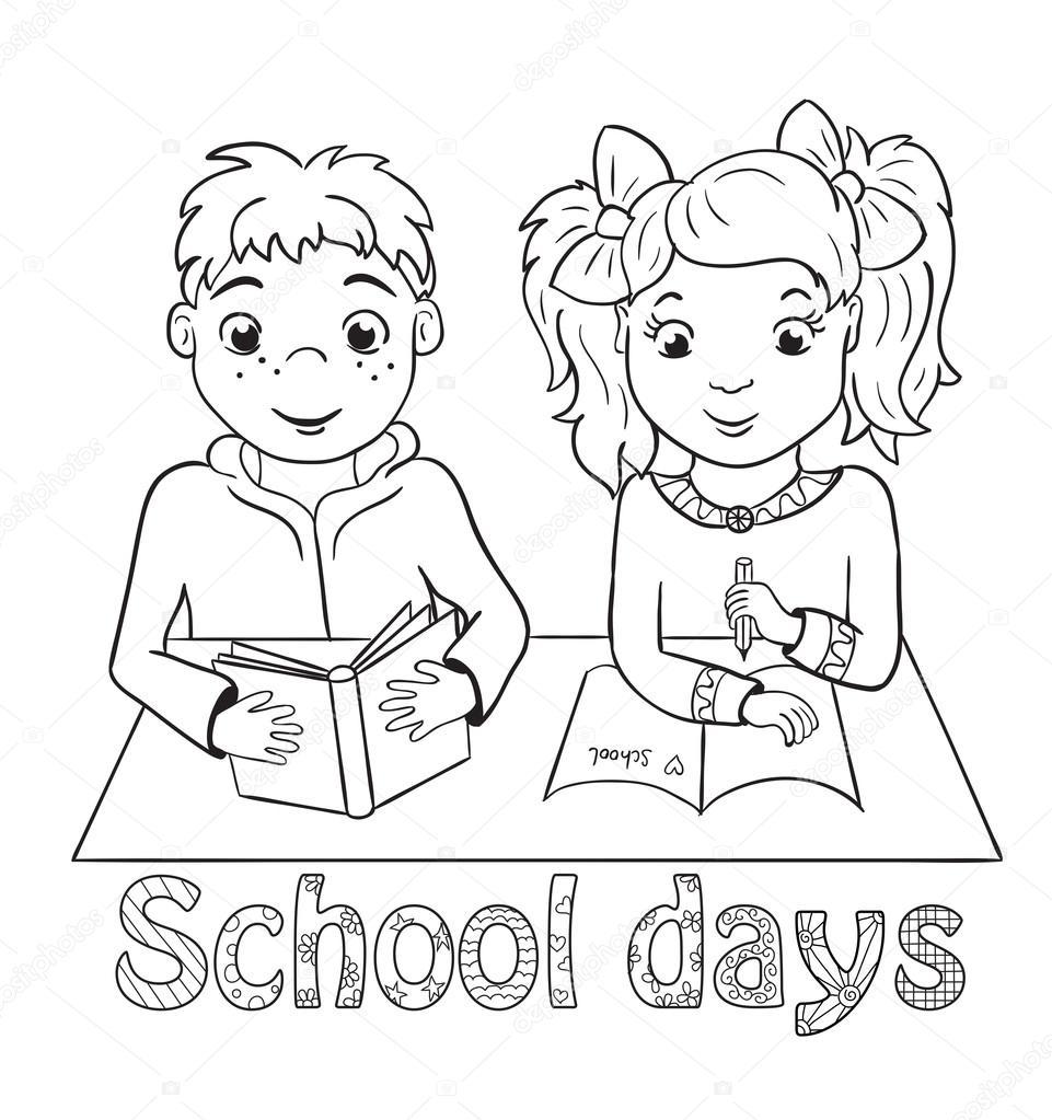 niño y una niña sentada en el escritorio de la escuela. libro para ...