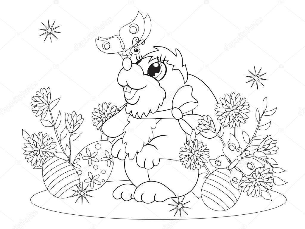 Küçük Tavşan Bir Kelebek Bir Araya Geldi Stok Vektör Snowkat