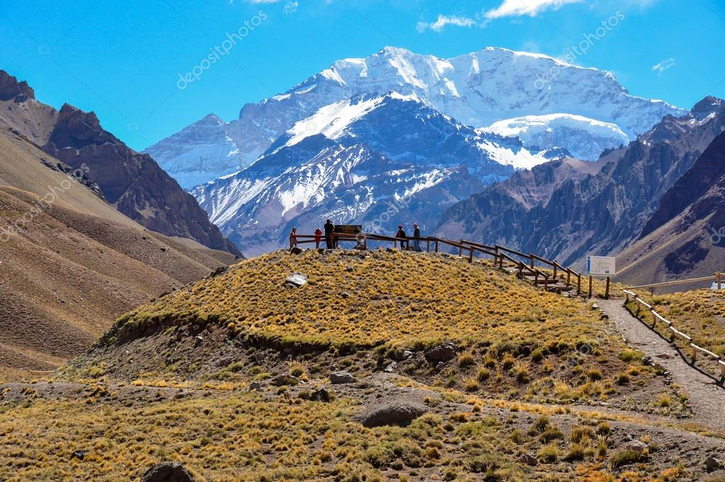 Aconcagua National Park's landscapes in between Chile and Argent