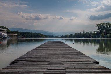 Peaceful pier scene
