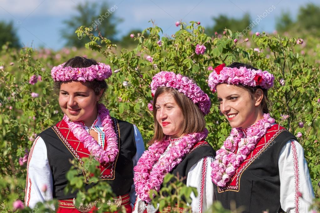 Girls posing during the Rose picking festival in Bulgaria