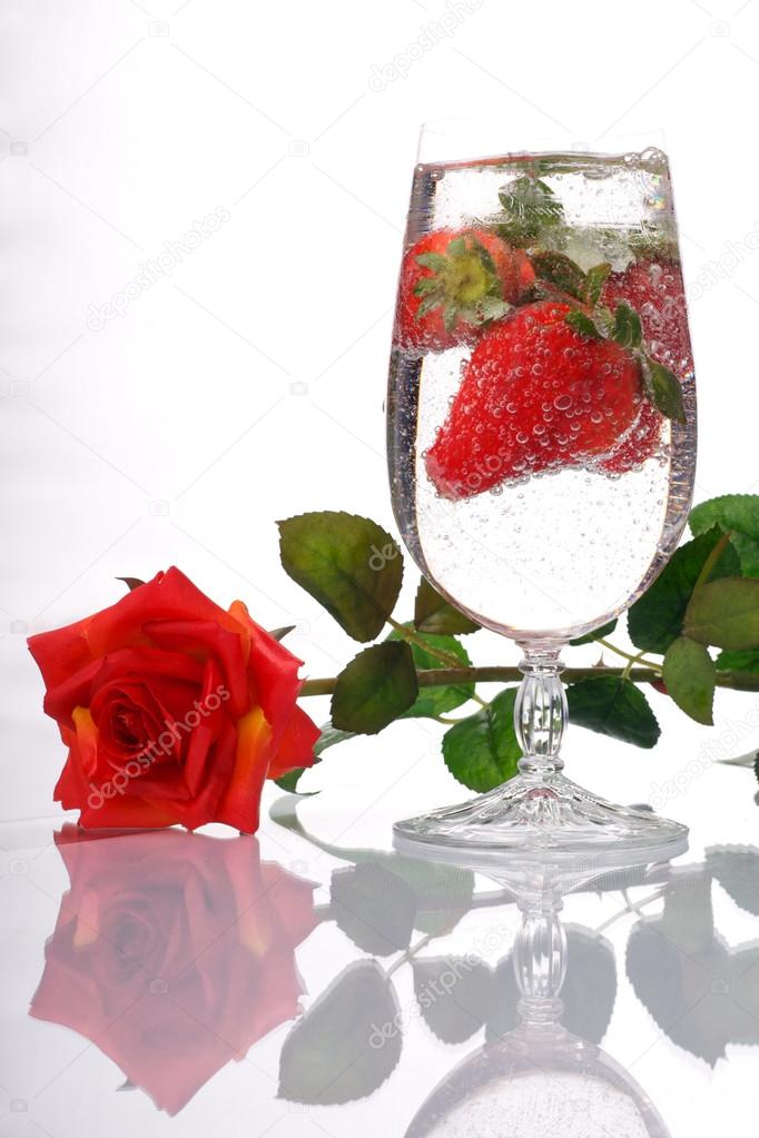 Red rose strawberry champagne