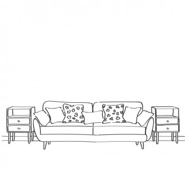 Hand drawn sketch of living room interior with a sofa