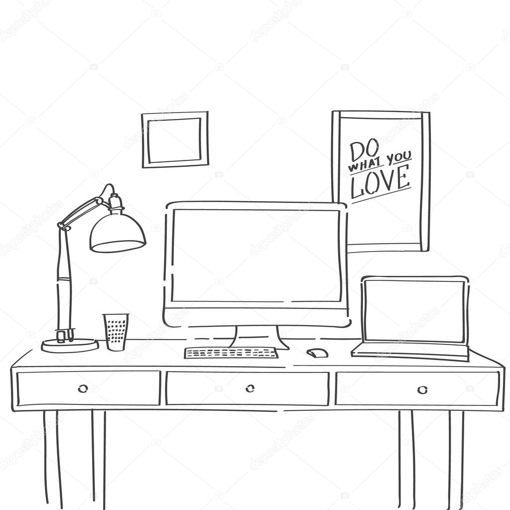 Hand drawn sketch of comfortable workspace with work table lamp hand drawn sketch of comfortable workspace with work table lamp and motivational posters on a geotapseo Gallery