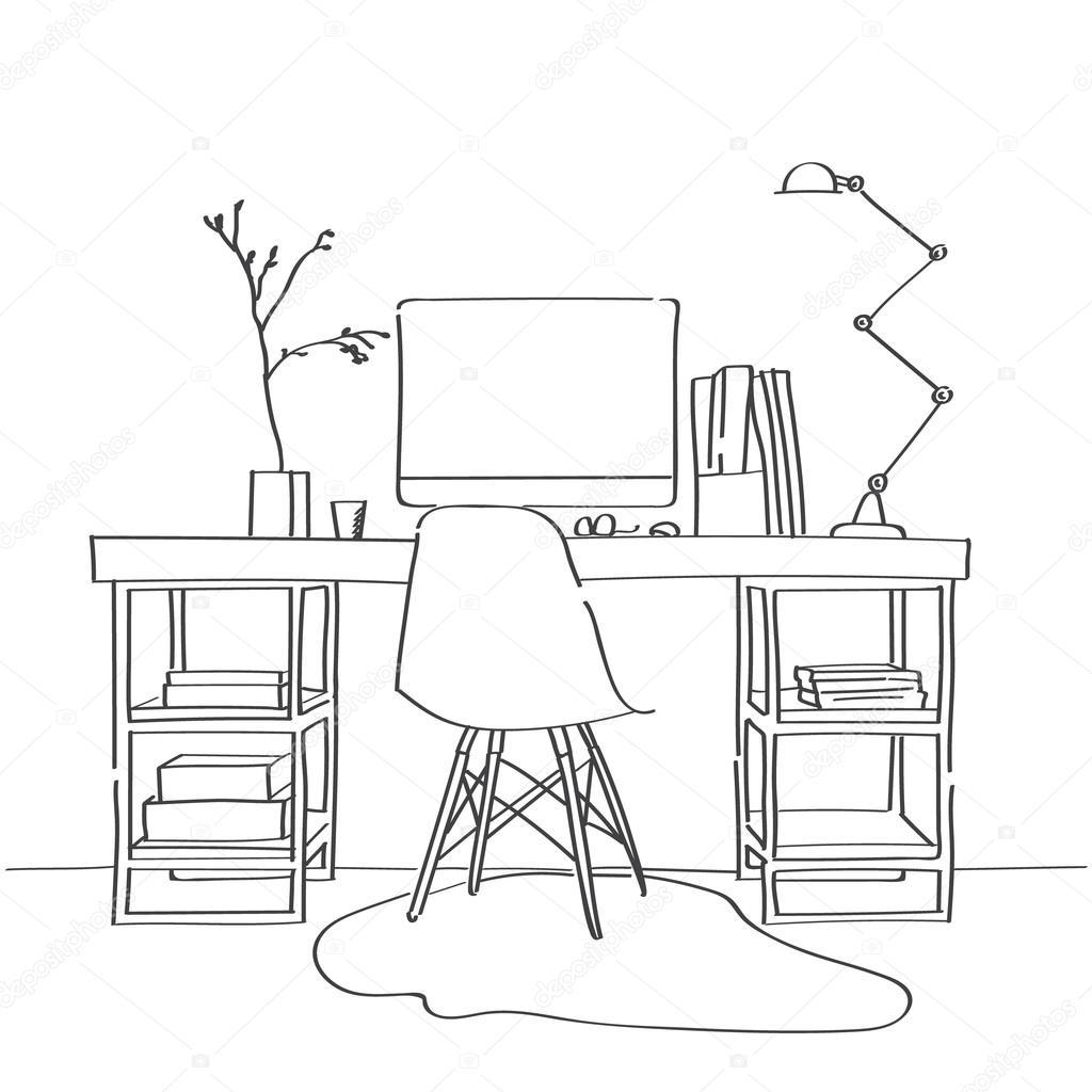 Tisch gezeichnet  gezeichnete Skizze des modernen Arbeitsbereich — Stockvektor ...