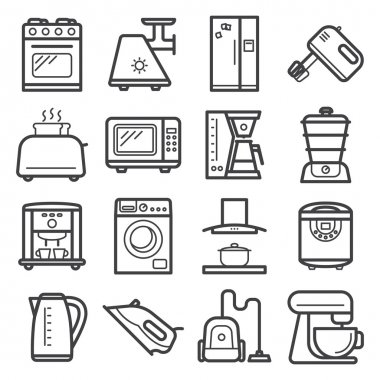 Line art icons of home appliances