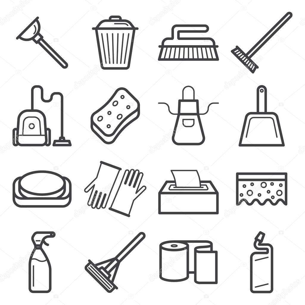 Insieme delle icone della casa pulizia strumenti for Insieme del programma della casa