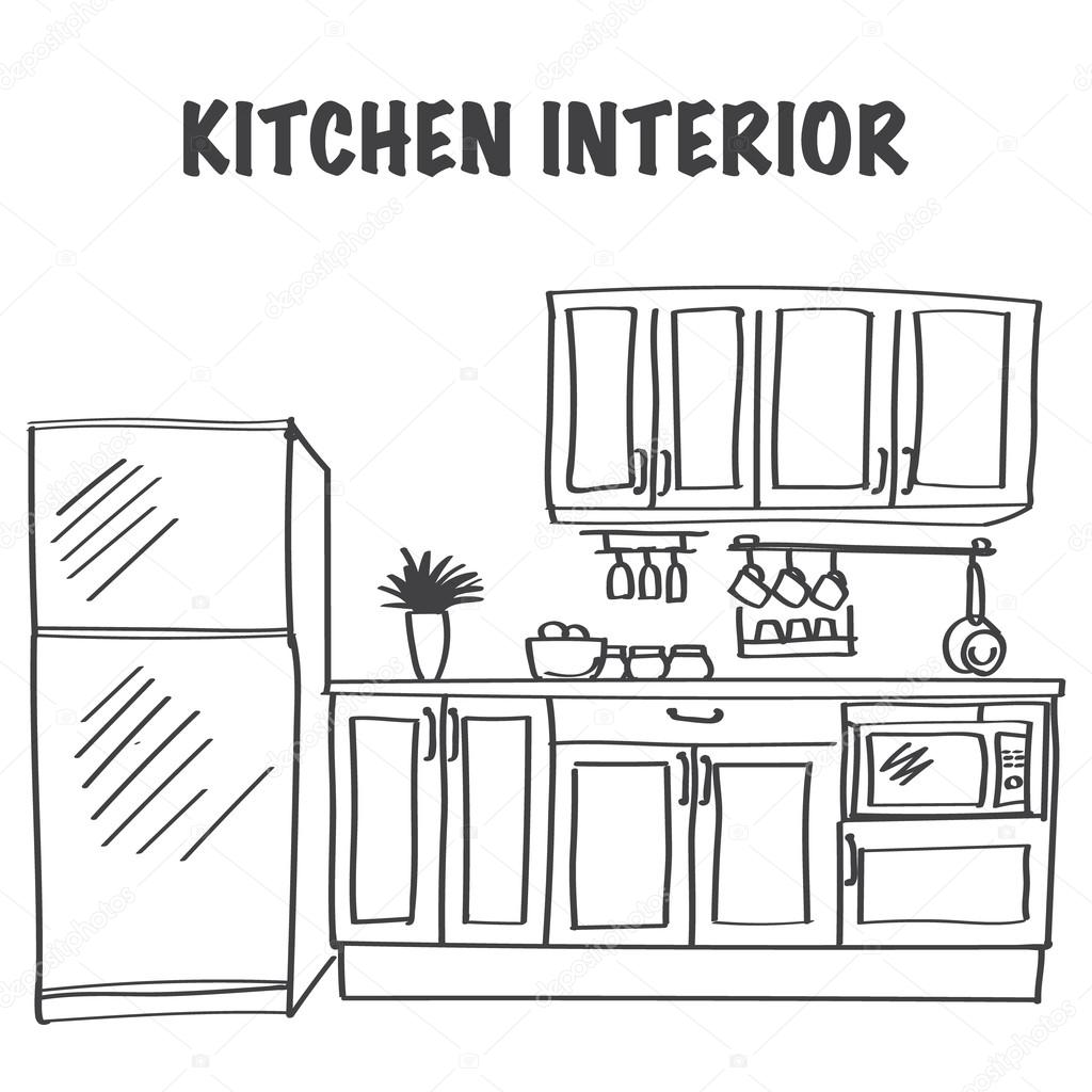 The Kitchen Sink Art Drawing Sketch Sketchbook By: Sketch Of Modern Kitchen Interior