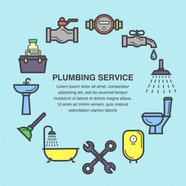 Colored icons set for plumbing service