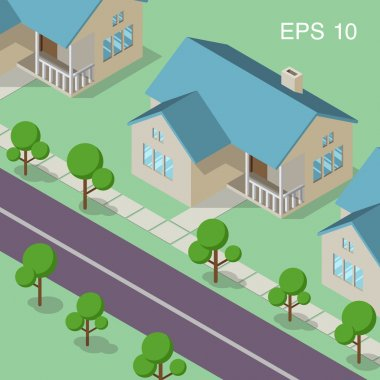 Isometric illustration of neighborhood with sibling houses on the street, lawns, sidewalk in the front of buildings and isometric green trees.