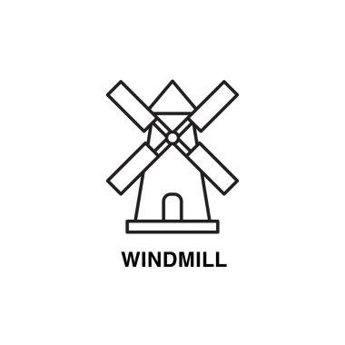 Line art flat design of windmill.