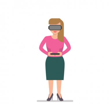 Blond woman in a virtual reality glasses