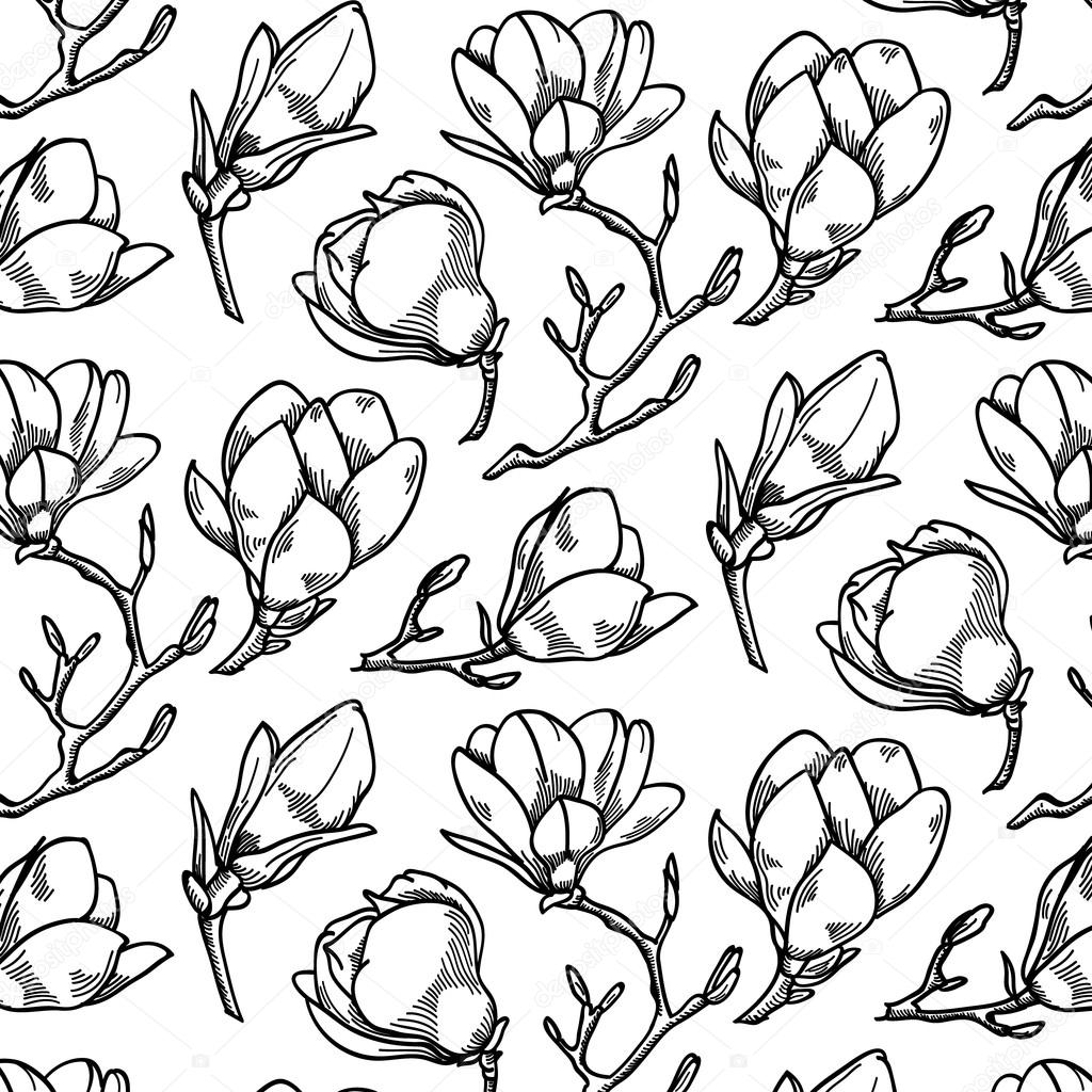 Spring magnolia flower black and white hand drawn vector seamless pattern.Great for apparel design or for print on textile.