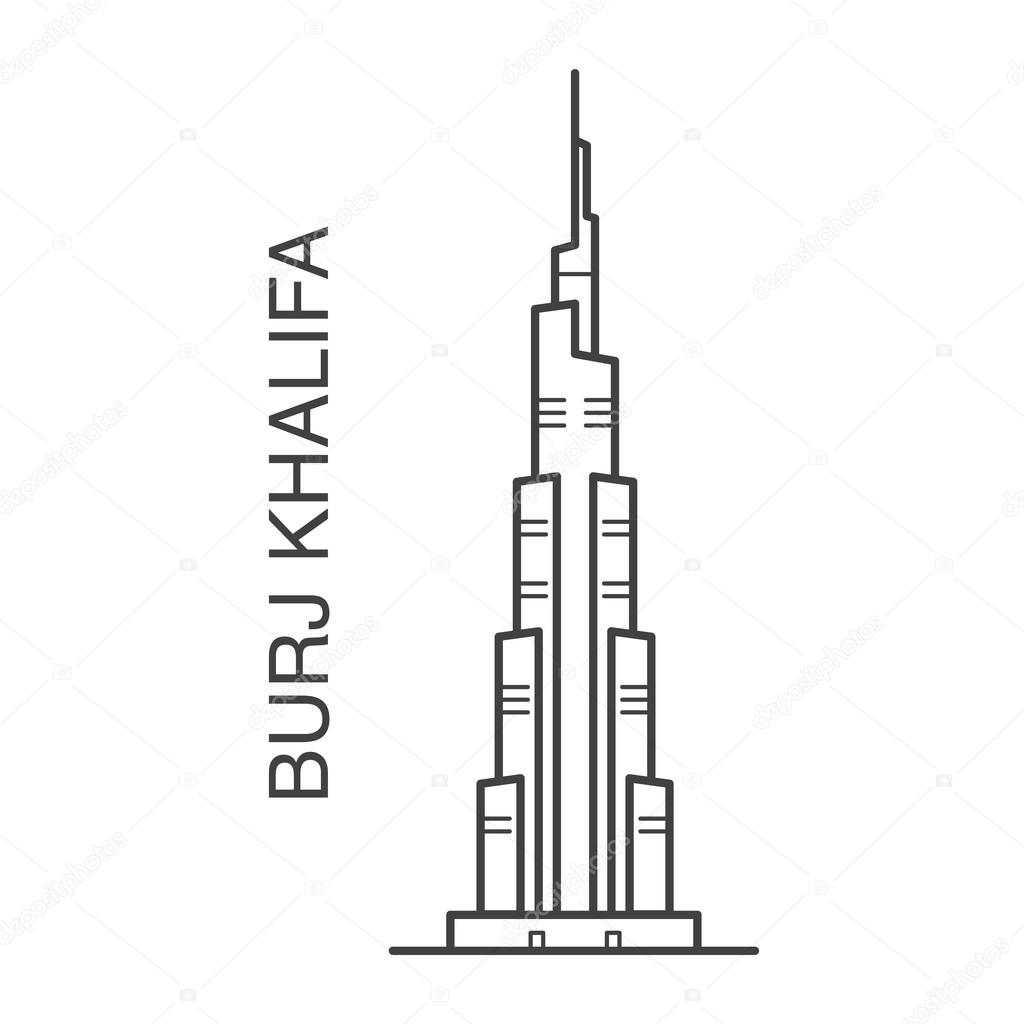 Burj khalifa illustration stock vector julija grozyan for Burj khalifa sketch