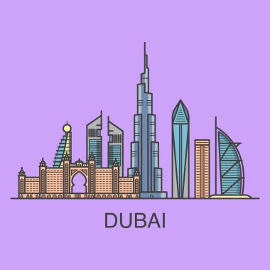 Dubai city landscape square composition.