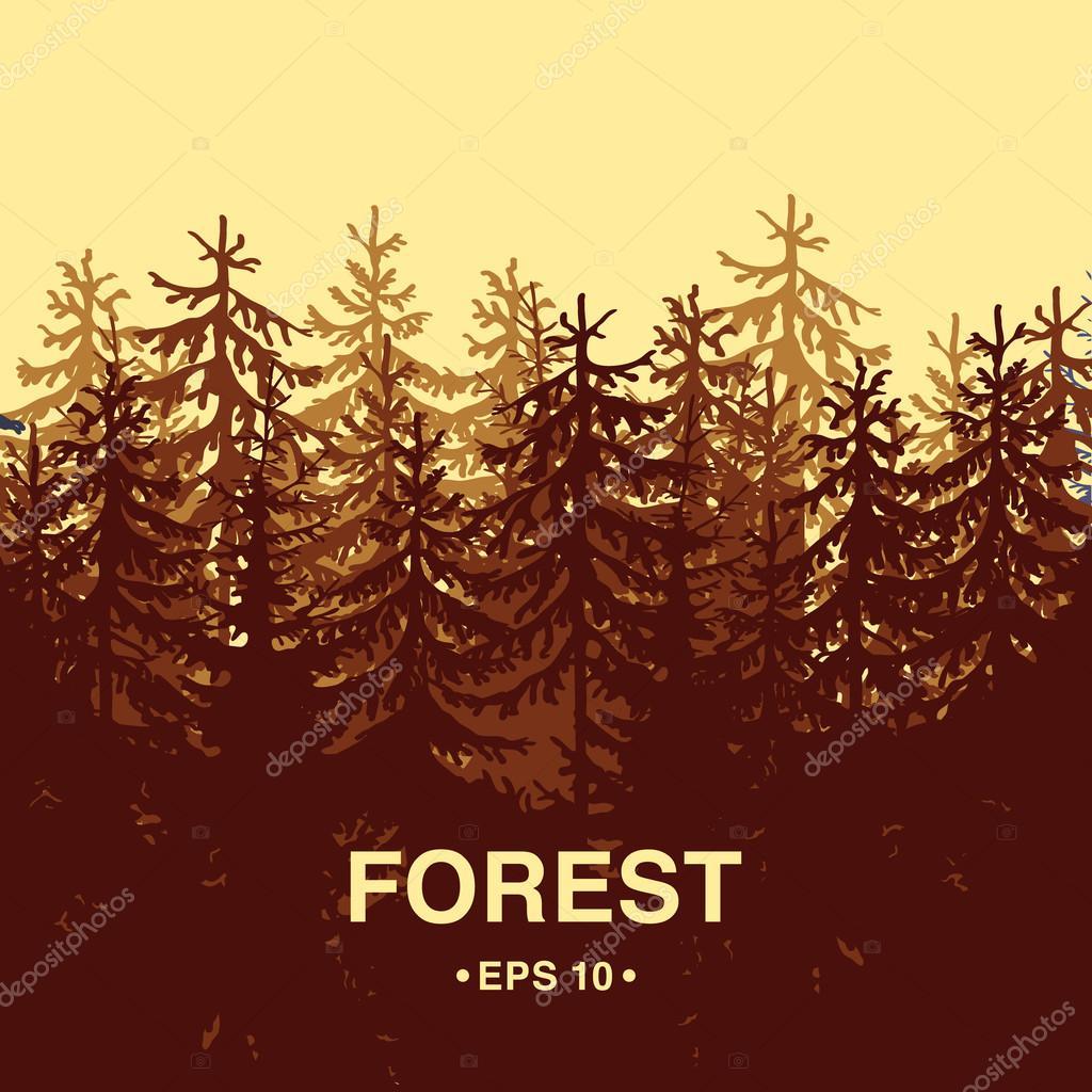 Orange forest silhouette illustration