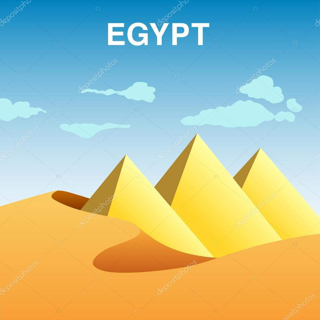Colorful illustration of Egypt pyramids in dessert.