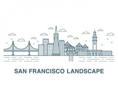 San Francisco landscape vector illustration.