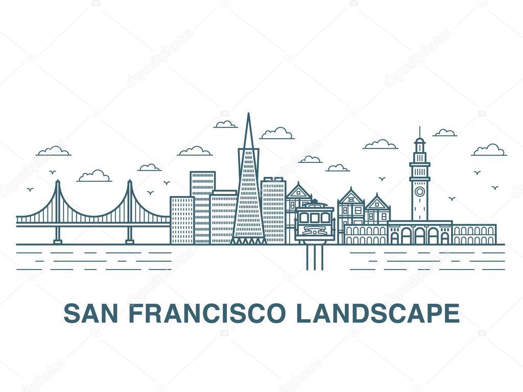 San francisco landscape vector illustration stock for San francisco landscape