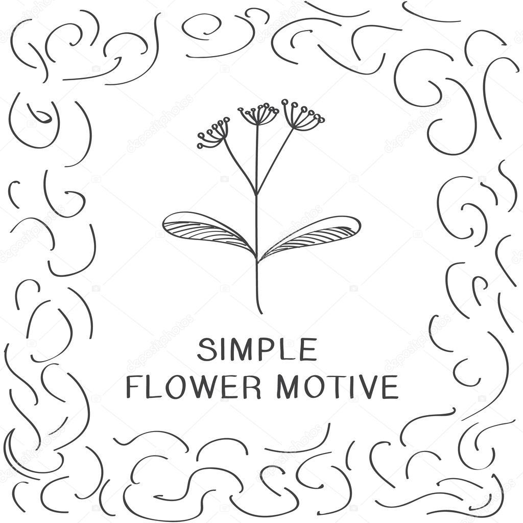 Simple Flower Sketches Simple Flower Motive Sketch Drawing Stock Vector C Julija Grozyan 123599506