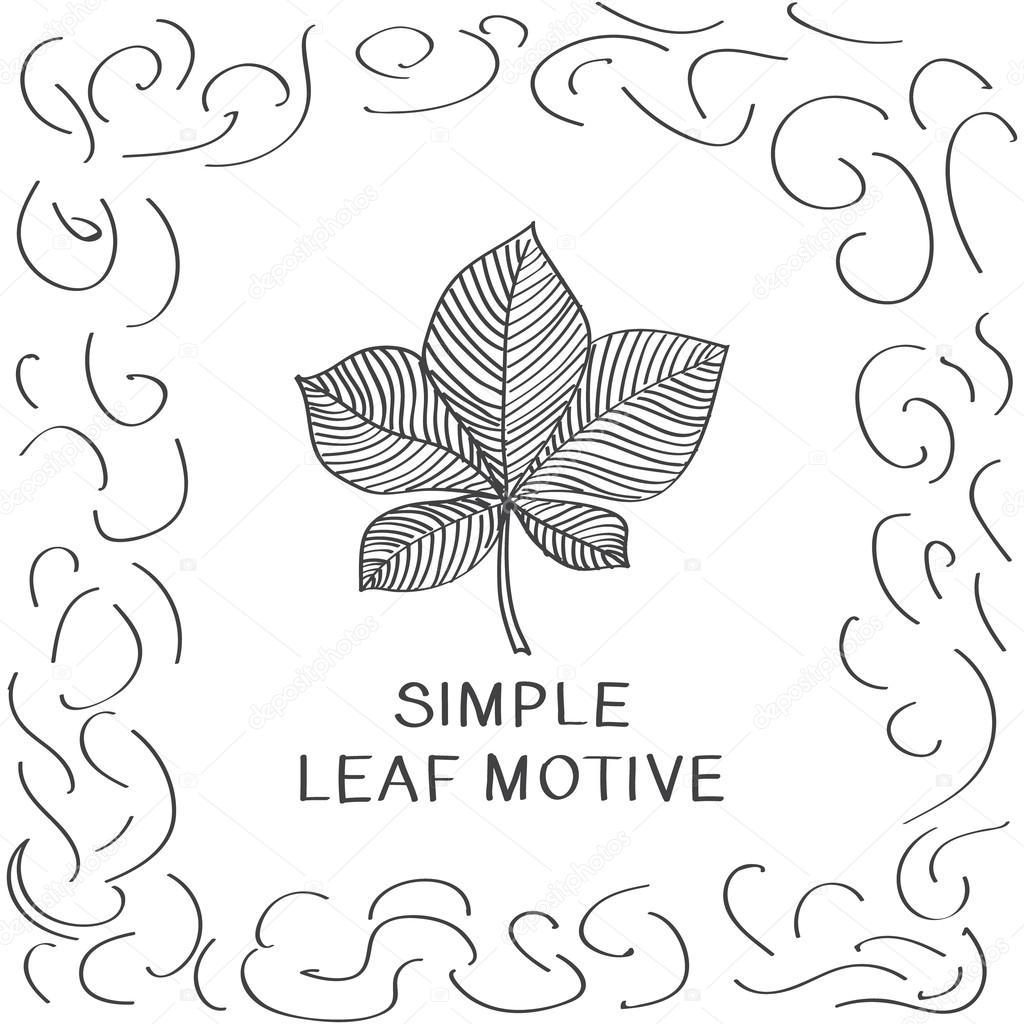 Simple sketch of chestnut leaf.