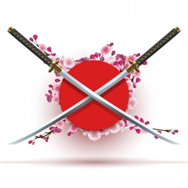 Two crossed katana on circle red background icon
