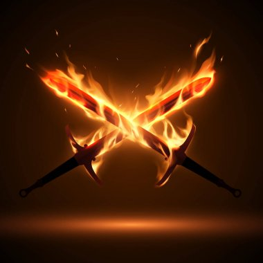 Crossed swords in fire flames icon