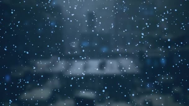Padající sníh na rozmazané pozadí městské krajiny. Pohybová grafika. Zimní sezóna