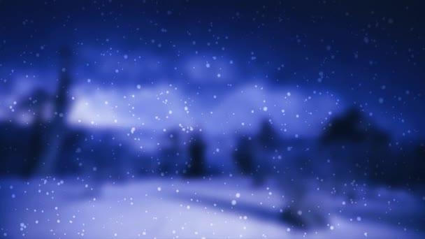 Padající sníh na rozmazané pozadí zimní krajiny. Pohybová grafika. Zimní sezóna