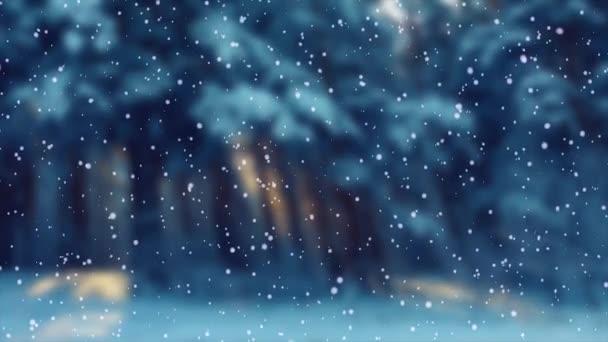 Padající sníh na pozadí lesa. Pohybová grafika