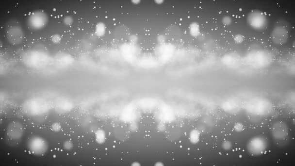 Fehér részecskék bokeh mozgásban. Monokróm háttér