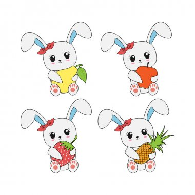 Cute rabbit with fruit, simple vector illustration icon