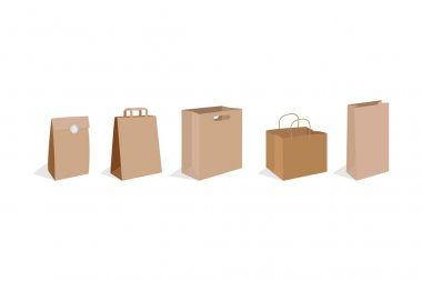 Realistic paper bag collection, simple vector illustration icon