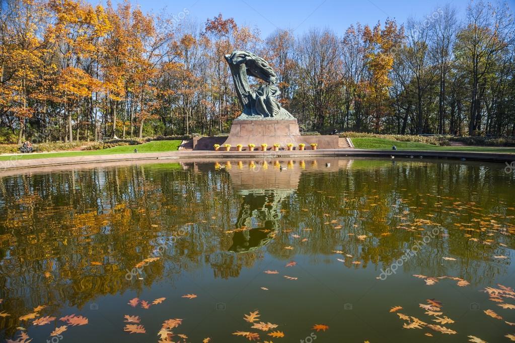 Chopin Statue in Lazienki Park, Warsaw, Poland