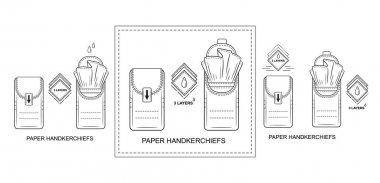 Paper disposable handkerchiefs pocket tissues pack icon set. Mini napkins bag. Closed and open dry clean wipes package for personal skin or nose hygiene. Outline isolated vector for packing design icon