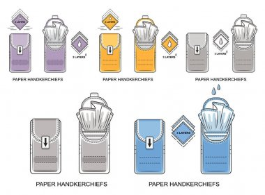 Pocket paper disposable handkerchiefs icon set. Pack of cleaning dry wipes. Small closed and open tissues package. 3 layers mini napkins for skin or nose hygiene. Label for packing design. Flat vector icon