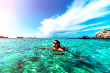 Young girl relaxing in the water