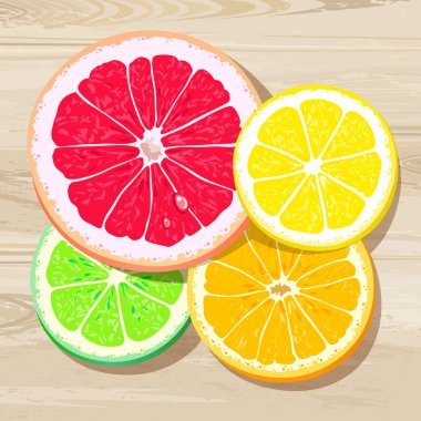 Four slices of citrus fruits