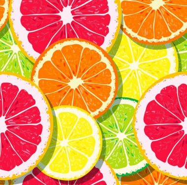 Slices of citrus fruits pattern