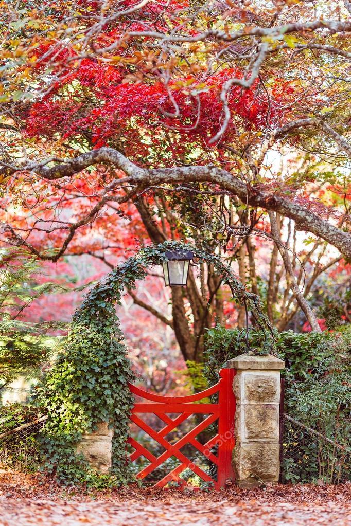 Automne jardin japonais avec porte rouge — Photographie ...