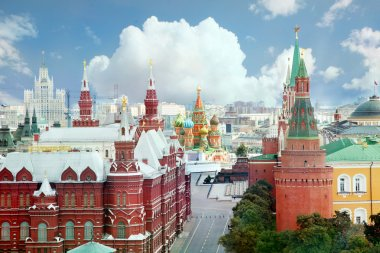Views Of Moscow. View of Red square and the Kremlin from the roo