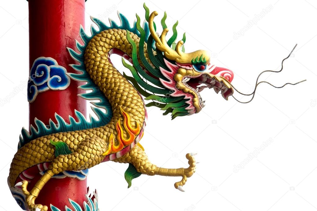 Twin Golden Chinese Dragon Wrapped Around Red Pole On Isolate White