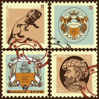 Set of postage stamps.