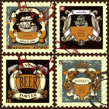 Set of postage stamps with beer labels.