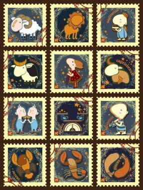 Set of postage stamps with zodiac signs.